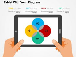 Tablet With Venn Diagram Flat Powerpoint Design