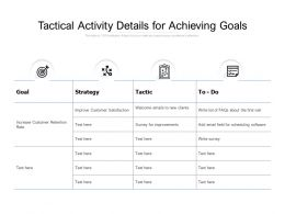 Tactical Activity Details For Achieving Goals