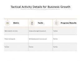 Tactical Activity Details For Business Growth