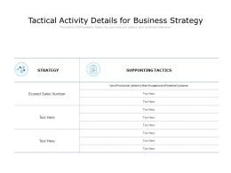 Tactical Activity Details For Business Strategy