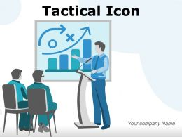 Tactical Icon Employee Organizational Objectives Strategies Analysis Process Growth Circles