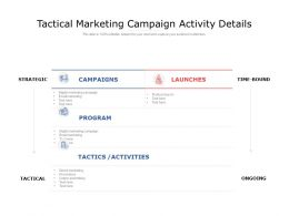 Tactical Marketing Campaign Activity Details