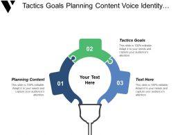 Tactics Goals Planning Content Voice Identity Innovation Networks