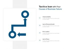 Tactics Icon With Four Causes Of Business Failure