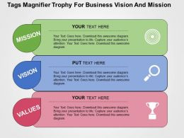 tags_magnifier_trophy_for_business_vision_and_mission_flat_powerpoint_design_Slide01