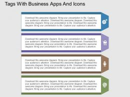 Tags With Business Apps And Icons Flat Powerpoint Design