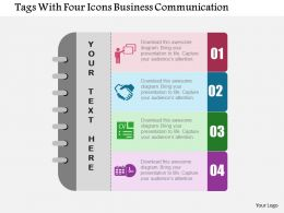 Tags With Four Icons Business Communication Flat Powerpoint Design