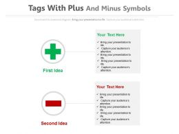 Tags With Plus And Minus Symbols Flat Powerpoint Design