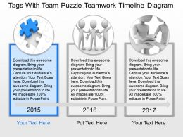 Tags With Team Puzzle Teamwork Timeline Diagram Powerpoint Template Slide