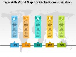 Tags With World Map For Global Communication Flat Powerpoint Design