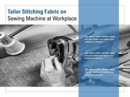 Tailor Stitching Fabric On Sewing Machine At Workplace