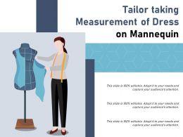 Tailor Taking Measurement Of Dress On Mannequin