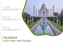 Taj Mahal Front View With Garden