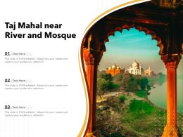 Taj Mahal Near River And Mosque