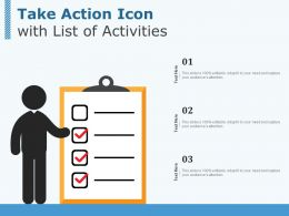 Take Action Icon With List Of Activities