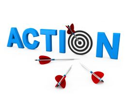 Take Action To Achieve Target Stock Photo