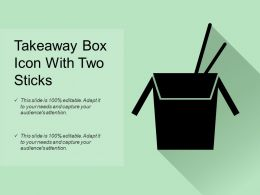 Takeaway Box Icon With Two Sticks