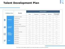Talent Development Plan Delivery Options Ppt Powerpoint Presentation Portfolio Layout Ideas