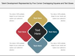 Talent Development Represented By Five Corner Overlapping Squares And Text Boxes