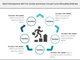 Talent Development With Five Circles And Arrows Circular Cycle Silhouettes Briefcase
