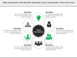 Talent Development With Idea Bulb Silhouettes Social Communication Team Work Group