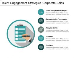 Talent Engagement Strategies Corporate Sales Presentation Analytics Service Cpb