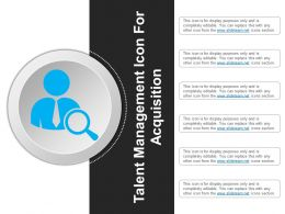 Talent Management Icon For Acquisition Example Of Ppt
