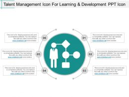 Talent Management Icon For Learning And Development Ppt Icon