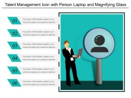 Talent Management Icon With Person Laptop And Magnifying Glass