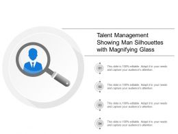 Talent Management Showing Man Silhouettes With Magnifying Glass
