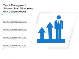 Talent Management Showing Man Silhouettes With Upward Arrows
