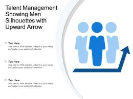 Talent Management Showing Men Silhouettes With Upward Arrow