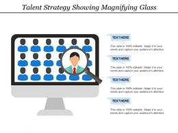 Talent Strategy Showing Magnifying Glass