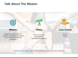 Talk About The Mission With Three Icons Ppt Ideas Graphic Images
