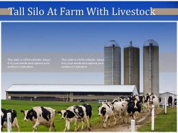 Tall Silo At Farm With Livestock