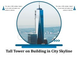 Tall Tower On Building In City Skyline