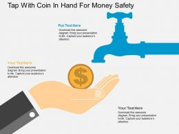 Tap With Coin In Hand For Money Safety Flat Powerpoint Design