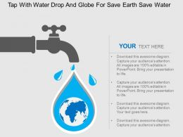 Tap With Water Drop And Globe For Save Earth Save Water Flat Powerpoint Design