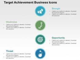 Target Achievement Business Icons Flat Powerpoint Design