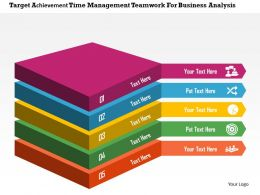 Target Achievement Time Management Teamwork For Business Analysis Flat Powerpoint Design