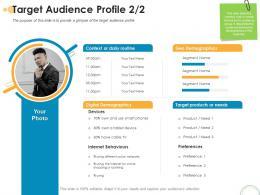 Target Audience Profile Devices Rebrand Ppt Powerpoint Presentation Model Slide Portrait
