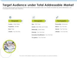 Target Audience Under Total Addressable Market Investment Pitch To Raise Funds From Mezzanine Debt Ppt Template