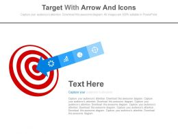 Target Board With Arrow And Icons Powerpoint Slides