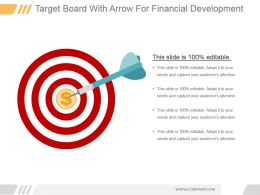 Target Board With Arrow For Financial Development Ppt Slides