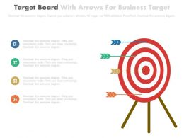 Target Board With Arrows For Business Targets Powerpoint Slides