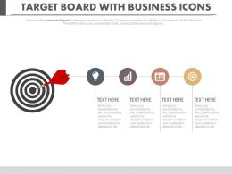 Target Board With Business Icons For Goal Achievement Powerpoint Slides