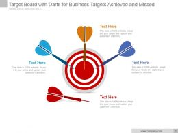 Target Board With Darts For Business Targets Achieved And Missed Ppt Slide