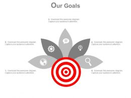 Target Board With Five Petals And Icons Diagram Powerpoint Slides