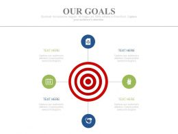 Target Board With Four Icons For Business Goals Powerpoint Slides