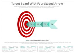 Target Board With Four Staged Arrow Powerpoint Slides